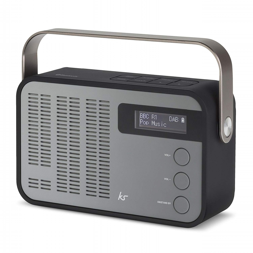 kitsound classic dab+/fm wireless portable radio bluetooth alarm black/grey