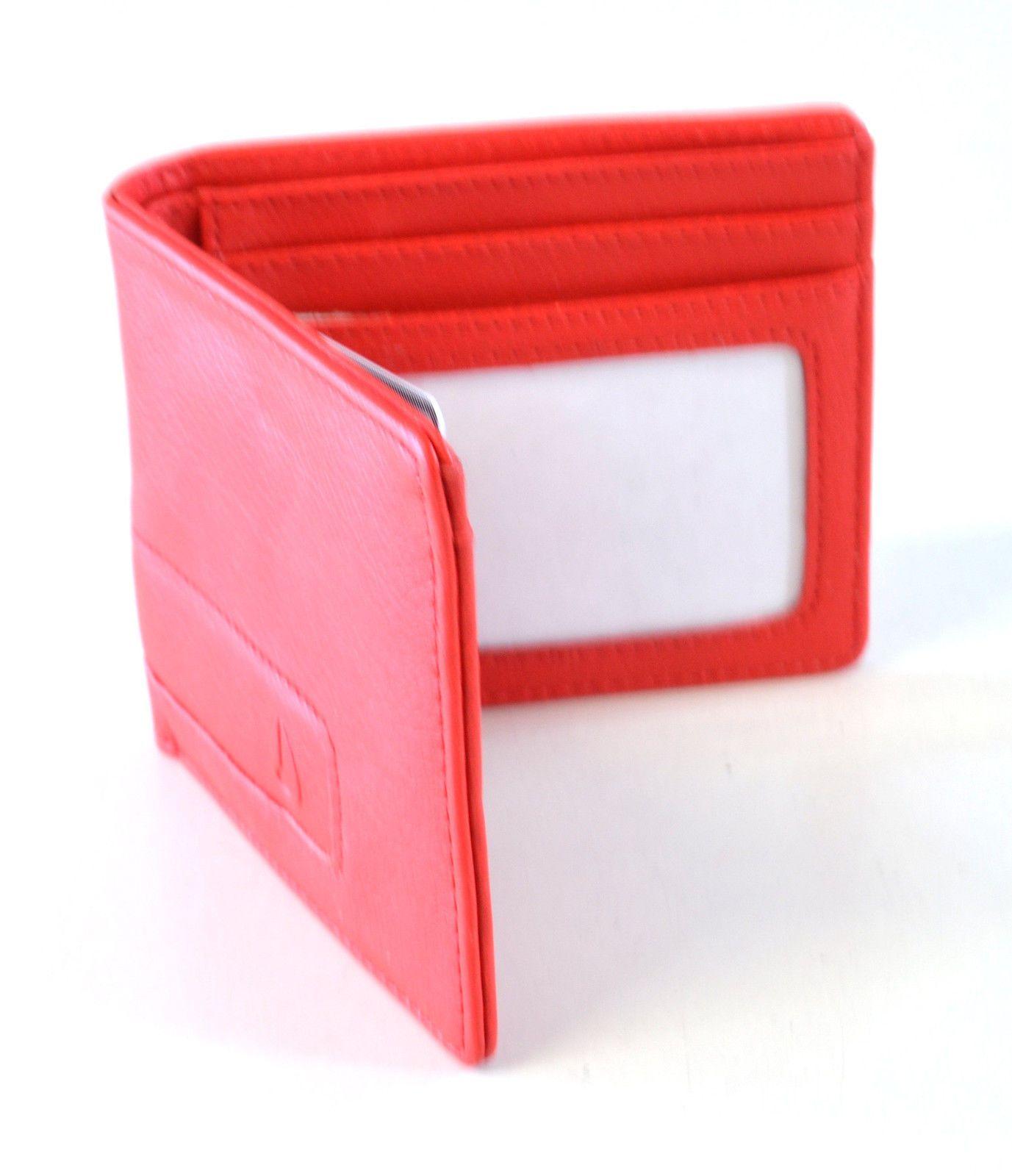 Nixon Cooper Bifold Undeboosed Logo PU Leather Wallet Card Holder Red
